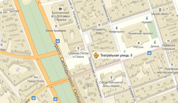 месторасположение City of Lions на карте Львова